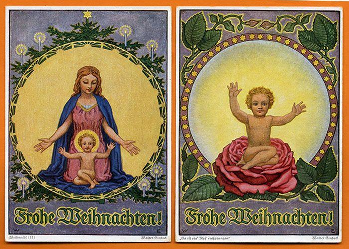 Neujahr Weihnachten Jahreswende 5 Künstlerkarten signiert Walter Einbeck