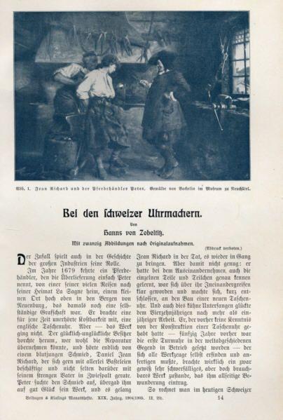 Schweiz Uhren Industrie Uhrmacher Handwerk Technik Geschichte Artikel 1906