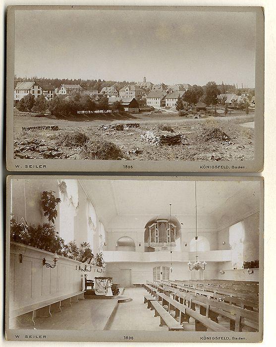 Baden Schwarzwald Königsfeld Ort und Kirche 2 Original Kabinett Foto 1896