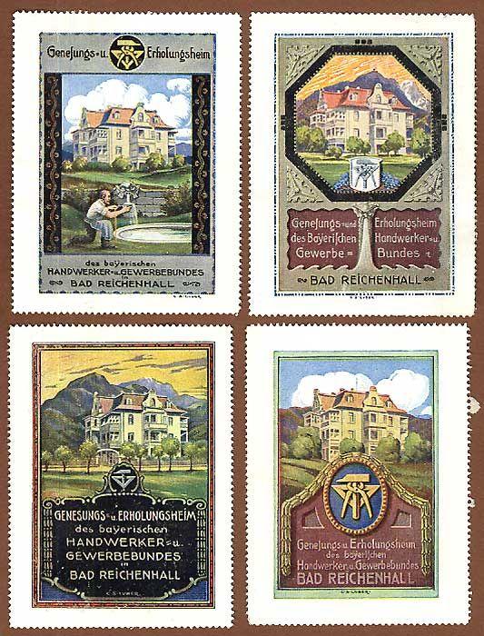 Bad Reichenhall Handwerker Genesungsheim 4 Reklamemarken Vignetten