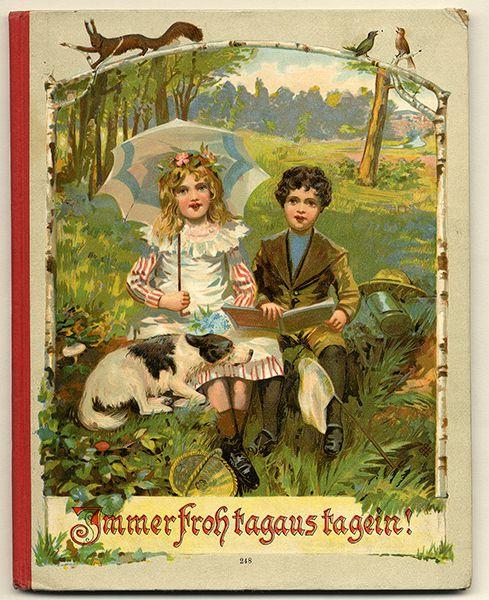 Altes Kinderbuch Kinderlieder Spiele Sprüche und Reime Farb Lithografie 1902