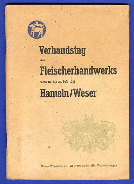 Hameln Weser Verbandstag Fleischer Handwerk Werbung Reklame Festschrift 1948