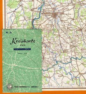 Allgäu Schwaben Memmingen Lautrach Stadt und Landkreis farbige Karte 1954