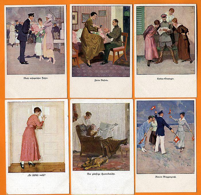 Frauen Erotik Weltkrieg Brynolf Wennerberg 9 farbige Künstler Postkarten 1915
