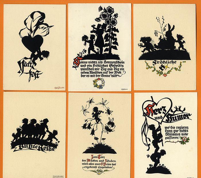Scherenschnitt Silhouette 16  Künstler Postkarten Plischke Verlag Zittau ab 1930