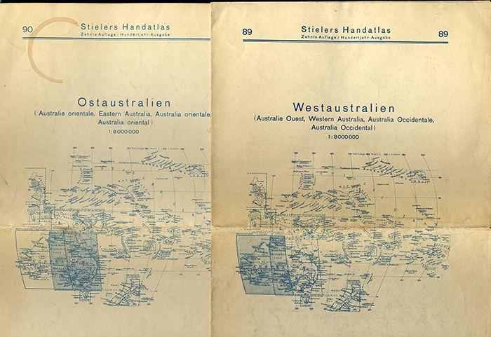 Alte Landkarten Australien Westaustalien Ostaustralien Stieler Atlas 1925