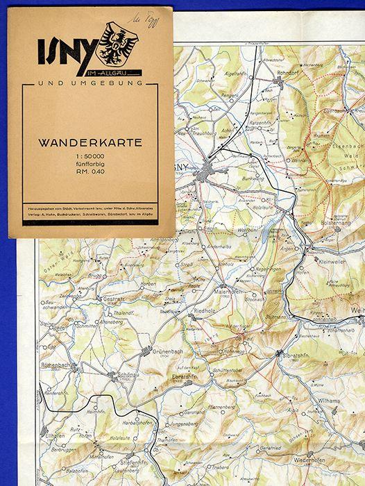 Württemberg Allgäu Bodensee Isny Weitnau Grünenbach Wanderkarte 1932