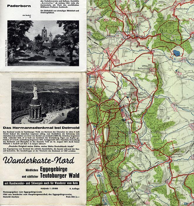 Westfalen Lippe Egge Paderborn Steinheim Detmold Altenbeken 2 Wanderkarten 1964