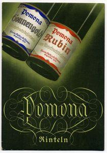 Werbung Reklame Alte Papptafel Pomona Frucht Wein Hermann Opitz Rinteln Weser
