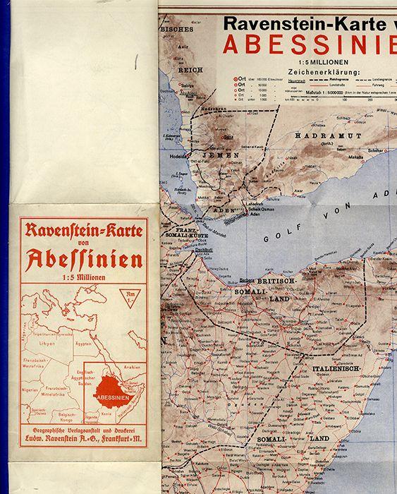 Selten Ravenstein Landkarte Horn von Afrika Abessinien Somalia Eritrea 1939
