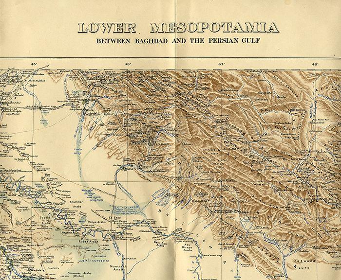 Selten Militär Landkarte Irak Bagdad Persischer Golf Kuweit Landkarte 1915