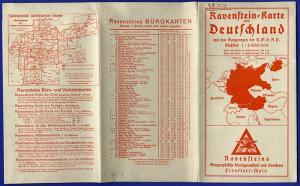Alte Landkarte Ravenstein farbige Deutschland Karte Gaugrenzen 1938