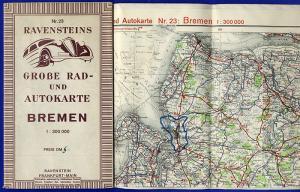 Alte Landkarte Ravenstein Auto Straßen Karte Bremen Nordsee Leer Papenburg 1950