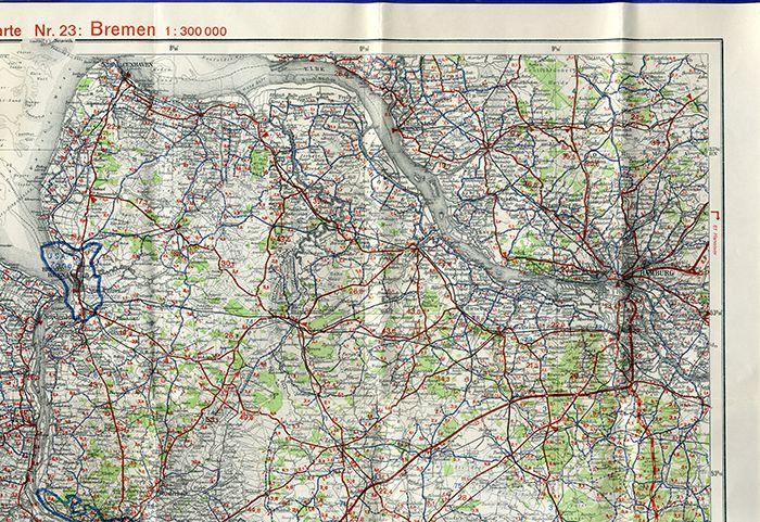 Alte Landkarte Ravenstein Auto Strassen Karte Bremen Nordsee Leer