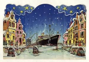 Werbung Reklame Eduscho Kaffee Bremen Weihnacht Adventskalender um 1960