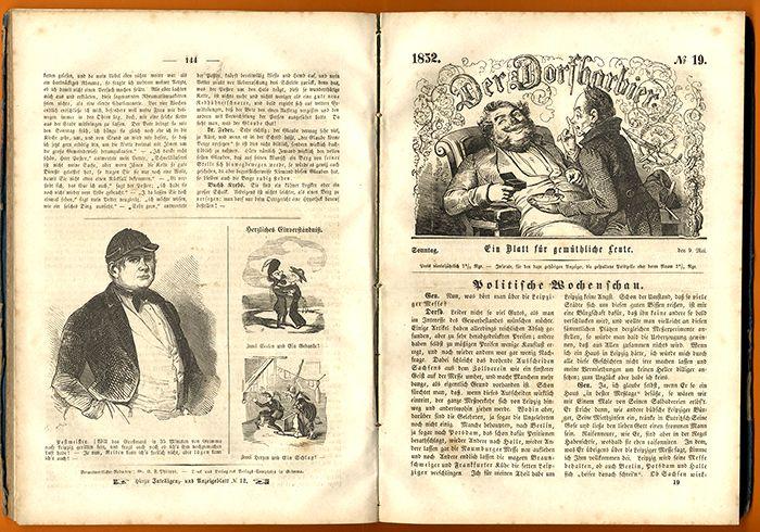 Deutschland Humor Satire Zeitschrift Der Dorfbarbier Jahrgang 1852