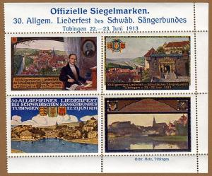 Tübingen Schwäbischer Sängerbund Musik Liederfest 4 Reklame Vignetten 1913