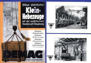 Alte Werbung Reklame DEMAG Duisburg Hängekran Doppelwinde Hebezeug Prospekt