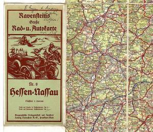 Alte Landkarte Ravenstein Auto Radfahrer Hessen Nassau Frankfurt Wiesbaden 1930
