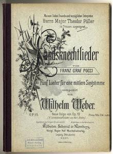 Musik Soldaten und Landsknecht Lieder Graf Pocci Karl Stieler Doppelband 1890