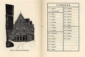 Mainz Staatsbau Schule Kunstgewerbe Grafik Kalender 1946