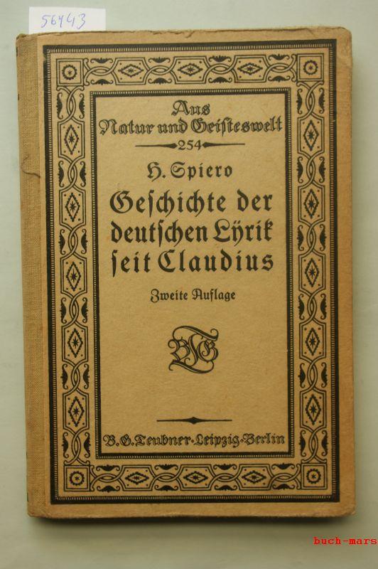 Spiero, Heinrich: Geschichte der deutschen Lyrik seit Claudius