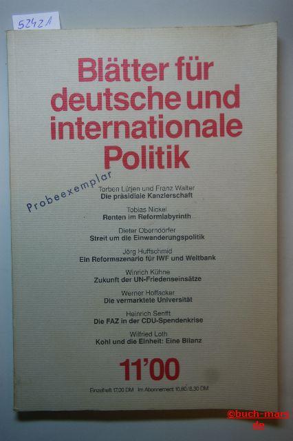 Etzel u.a.: Blätter für deutsche und internationale Politik. Heft 11/00