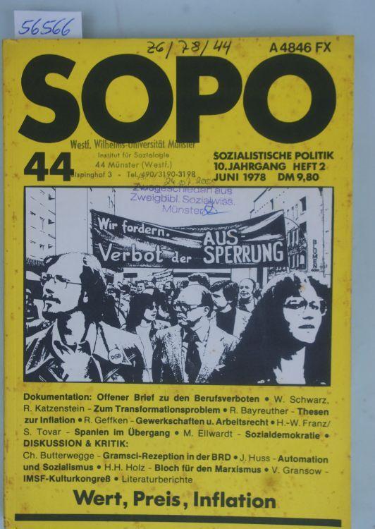 Hella Stern: Wert, Preis, Inflation. Sozialistische Politik. SOPO. 10. Jahrgang, Heft 2