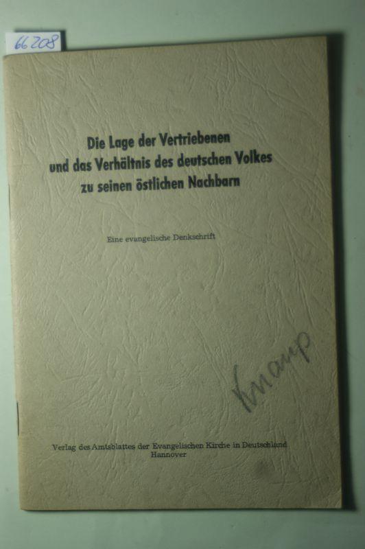 Scharf, Kurt: Die Lage der Vertriebenen und das Verhältnis des deutschen Volkes zu seinen östlichen Nachbarn. Eine evangelische Denkschrift.
