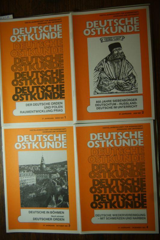 Deutsche Ostkunde: Deutsche Ostkunde. Vierteljahresschrift für Wissenschaft, Erziehung und Unterricht. 37. Jahrgang, Heft 1 - 4, 1991.