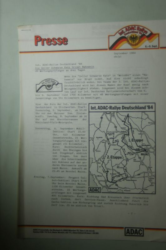 ADAC: Presse ADAC Rallye Deutschland 1984
