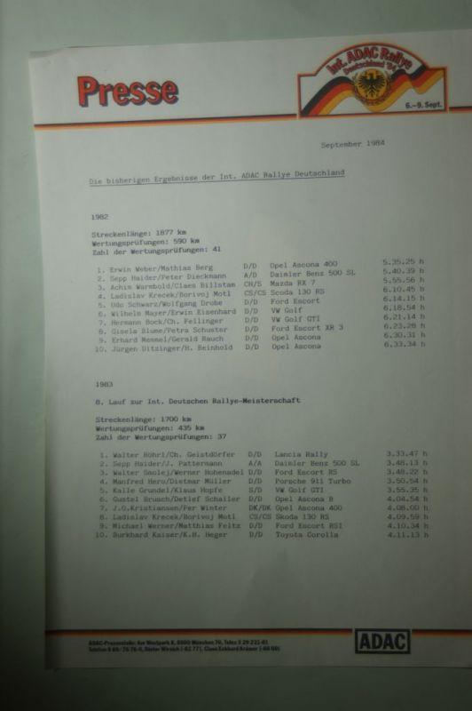 ADAC: Presse ADAC Rallye Deutschland Ergebnisse 1982 und 1983