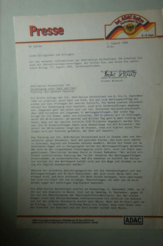 ADAC: Presse ADAC Rallye Deutschland Genehmigung unter Dach und Fach 1984