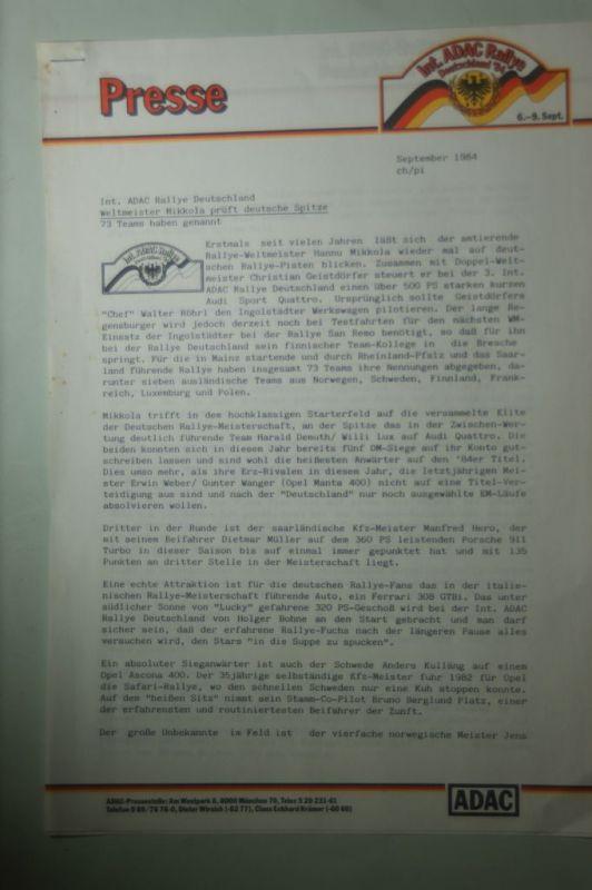 ADAC: Presse ADAC Rallye Deutschland Weltmeister Mikkola prüft deutsche Spitze1984