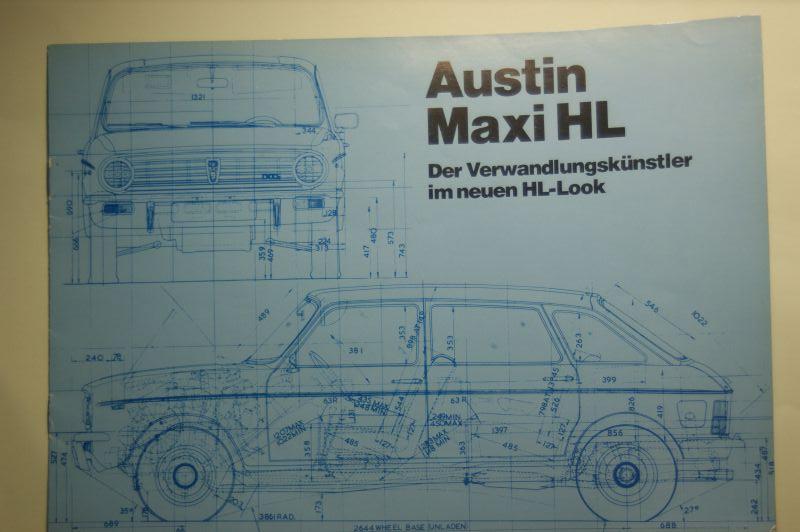 Austin: 8-Seiten-Prospekt Austin Maxi HL aus den 1970igern