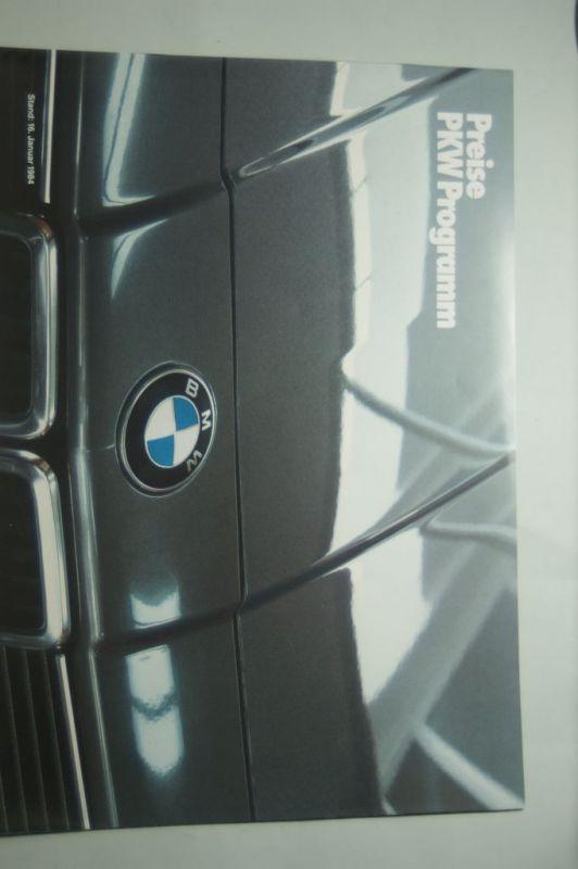 BMW: BMW Preise PKW Programm 01/1984
