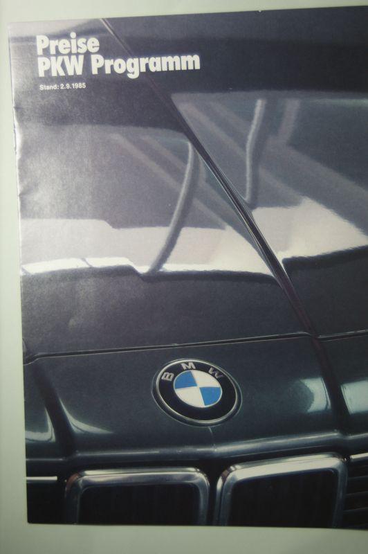 BMW: BWM Preise PKW Programm 02.09.1985