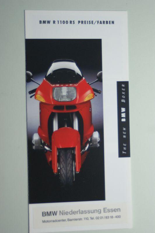 BMW: Faltblatt BMW R 1100 RS Preise/Farben