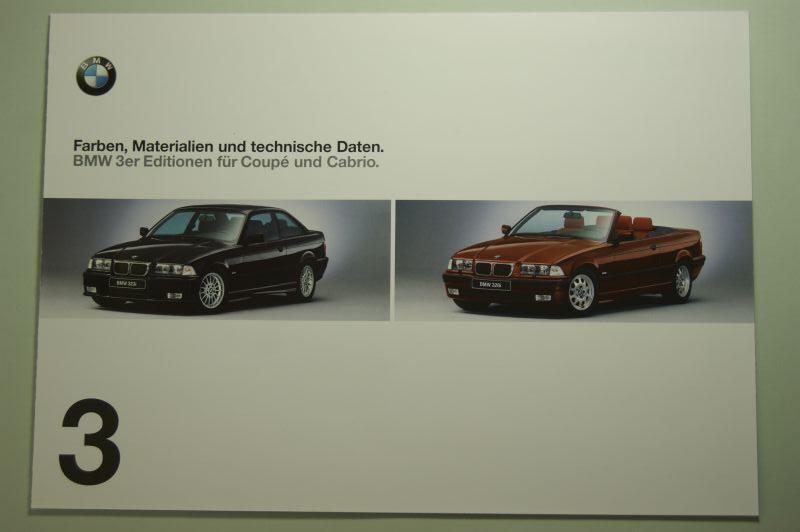 BMW: Faltblatt Farben, Materialien und technische Daten BMW 3er Coupe und Cabrio 1998
