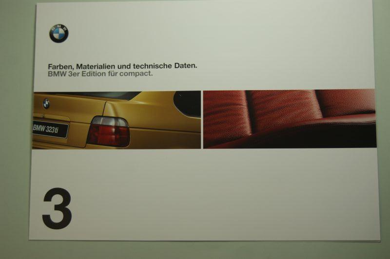 BMW: Faltblatt Farben, Materialien und technische Daten BMW 3er compact 1999