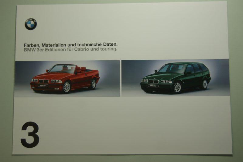 BMW: Faltblatt Farben, Materialien und technische Daten BMW 3er Edition Cabrio und touring 1999
