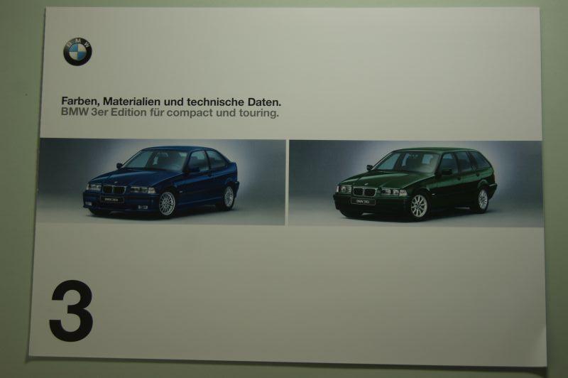 BMW: Faltblatt Farben, Materialien und technische Daten BMW 3er Edition compact und touring 1999