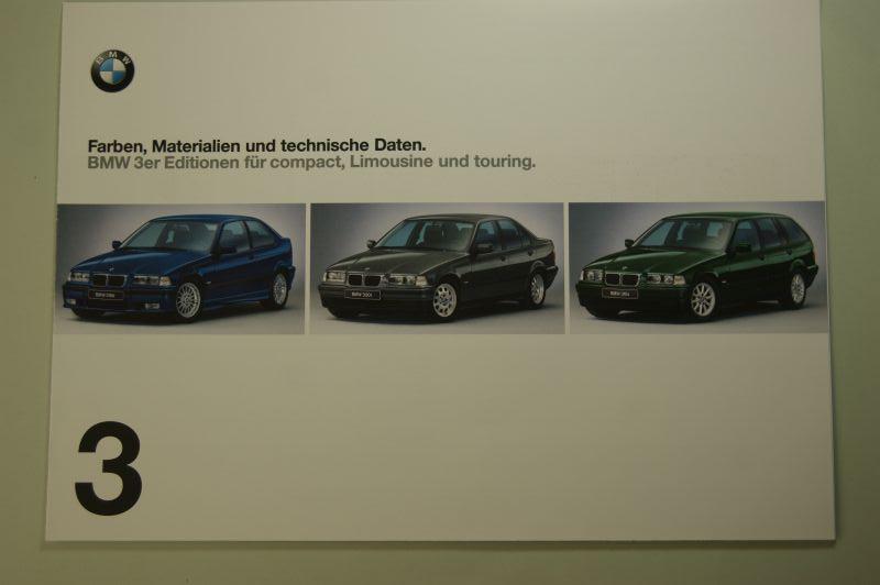 BMW: Faltblatt Farben, Materialien und technische Daten BMW 3er Editionen compact, Limousine und touring 1999