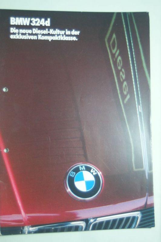 BMW: Prospekt BMW 324d Die neue Diesel-Kultur 1986