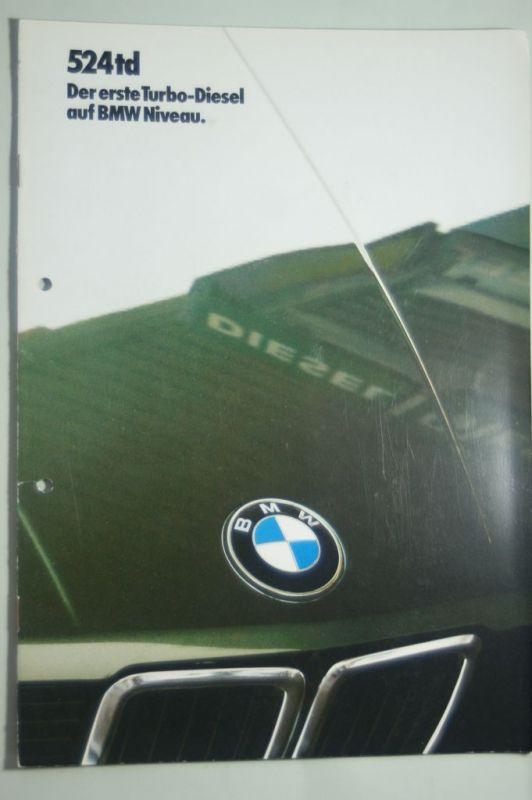 BMW: Prospekt BMW 524 TD Der erste Turbo-Diesel auf BMW Niveau 1986