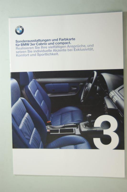 BMW: Prospekt BMW Sonderaustattungen und Farbkarte für die BMW 3er Cabrio und compact 02/1999