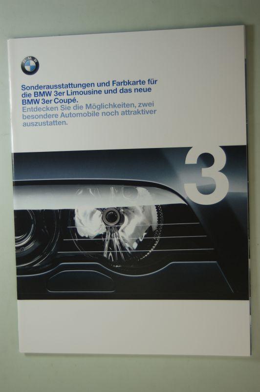 BMW: Prospekt Sonderaustattung und Farbkarte für 3er Limousine und Coupe 02/1999