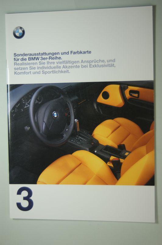 BMW: Sonderausstattungen und Farbkarte für die BMW 3er Reihe. Prospekt 1997