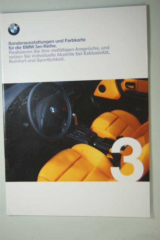 BMW: Sonderausstattungen und Farbkarte für die BMW 3er-Reihe. Prospekt 1/98.