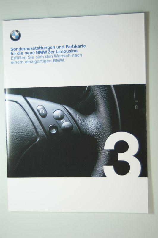 BMW: Sonderausstattungen und Farbkarte für die neue BMW 3er Limousine. 2/98